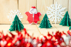 Christmas concept paper craft on wooden floor, Selective focus, Stock Images