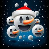 Christmas concept for people teamwork, blue background with group of smiley snowman emoticon with Santa`s hat, emoji royalty free illustration