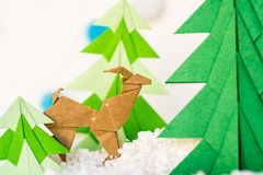 Reindeer and fir tree origami Stock Images