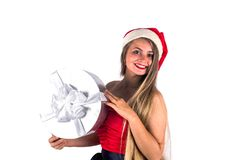 Pretty girl wearing red dress holding present gift box isolated Stock Photos