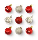 Christmas concept with red and silver balls. On white background. Flat lay. Top view royalty free stock photos
