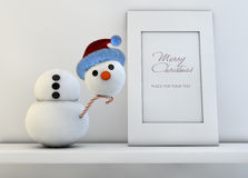 Christmas concept with snowman Royalty Free Stock Image