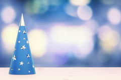Christmas concept with white blue christmas tree with golden sta Royalty Free Stock Photography