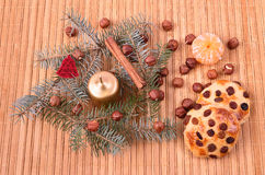 Christmas concept on wooden background Stock Photos