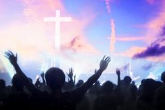 Christmas concept: worship and praise God stock photography