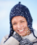 Christmas concepts smiling young woman in the snow Royalty Free Stock Images