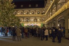 Christmas concert in the inner courtyard of Old Castle in Stuttgart, Germany stock photos