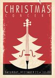 Christmas concert retro poster design. For musical event. New year holiday theme stock illustration