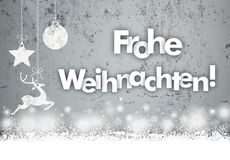 Christmas Concrete Caribou Bauble Snowfall Frohe Weihnachten. German text Frohe Weihnachten, translate Merry Christmas Royalty Free Stock Photos