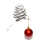 Christmas cone with bauble. Stock Photo