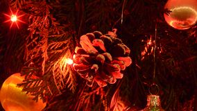 Christmas cones and lights. Christmas cones and colors lights are classical symbol stock video