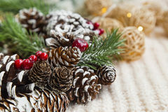 Christmas cones wreath decoration Royalty Free Stock Photography