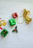 Christmas confetti and decoration Royalty Free Stock Photo