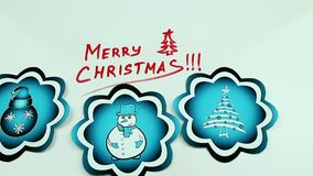 Christmas congratulation and bluepictures. The Christmas drawing made a marker on white stock video