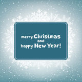 Christmas congratulation rectangular snow Stock Photos