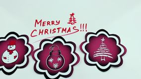 Christmas congratulation and red pictures. The Christmas drawing made a marker on white stock video