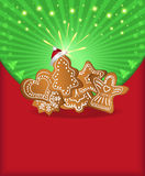 Christmas congratulations red green gingerbread Royalty Free Stock Image