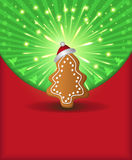 Christmas congratulations red green tree gingerbre Royalty Free Stock Photography