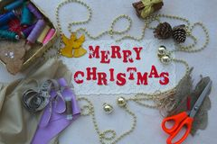 Christmas congratulations for seamstresses Stock Photos