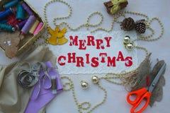 Christmas congratulations for seamstresses Stock Photos