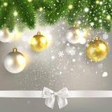 Christmas Congratulatory Background with Christmas Balls royalty free illustration