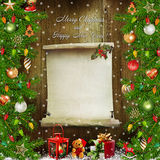 Christmas congratulatory background with pine branches, gifts, Christmas decorations and space for text Stock Photography