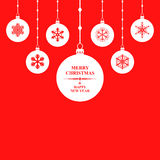 Christmas congratulatory balls card on red background Royalty Free Stock Image