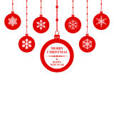 Christmas congratulatory balls card Royalty Free Stock Photography