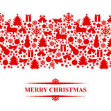 Christmas congratulatory card with baubles isolated Royalty Free Stock Images
