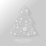 Christmas congratulatory card with fir of snowflakes. Vector illustrations of Christmas greeting flat icon of fir of snowflakes with shadow on grey background Royalty Free Stock Images