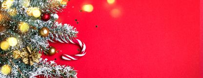 Christmas coniferous border with shining lights. Long banner format.  royalty free stock images