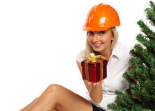 Christmas construction worker Royalty Free Stock Photo