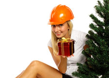 Christmas construction worker Stock Images