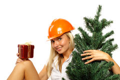 Christmas construction worker Stock Photo