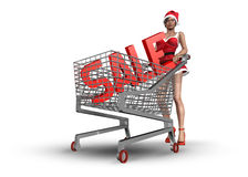 Christmas consumerism concept. Woman with Christmas sale in shopping basket stock illustration