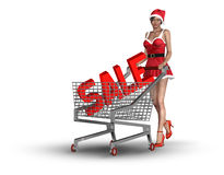 Christmas consumerism concept. Woman with Christmas sale in shopping basket royalty free illustration