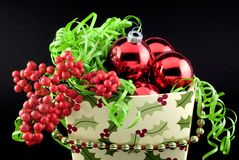 Christmas Container with Decorations Royalty Free Stock Photography