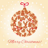 Christmas cookie ball. Merry Christmas greeting card design. Christmas cookie ball royalty free illustration