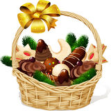 Christmas cookie in basket Royalty Free Stock Photos