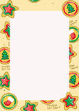 Christmas Cookie border. Border of christams cookies for santa Royalty Free Stock Photography