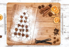 Christmas cookie cinnamon stars and spices. Food background Royalty Free Stock Image