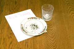 Christmas Cookie Crumbs and Empty Milk Glass on Table Stock Photography