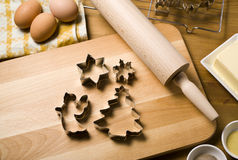 Christmas cookie cutters, baking ingredients Stock Photo