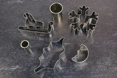 Christmas cookie cutters royalty free stock images