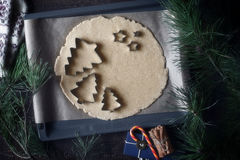 Christmas cookie cutters on the raw dough on the backing tray top view Royalty Free Stock Images