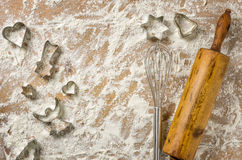 Christmas cookie cutters with whisk and rolling pin Stock Image