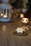Christmas cookie on decorated table with candles, copy space Stock Photography