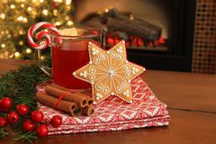 Christmas cookie and drink. Royalty Free Stock Photos