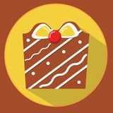 Christmas cookie. gingerbread gift box. Flat vector icon with long shadow. New year food Stock Images