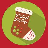 Christmas cookie. gingerbread sock. Flat vector icon with long shadow. New year food Royalty Free Stock Photography